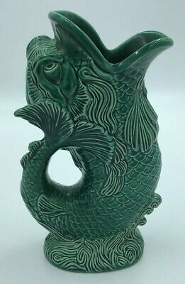 Wedgwood Of Etruria & Barlaston Green Majolica Gurgle Fish Dolphin Vase