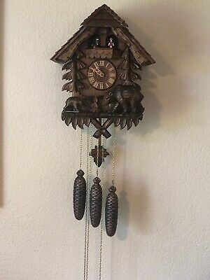 German Bears Wood Cuckoo Clock Hand Made In Germany w Dancing Dolls And Bird