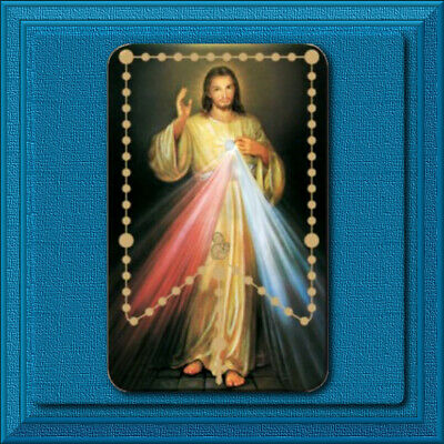 JESUS Divine Mercy Rosary LAMINATED HOLY CARD 🕊 Catholic 🙏 WITH MYSTERIES ✝️