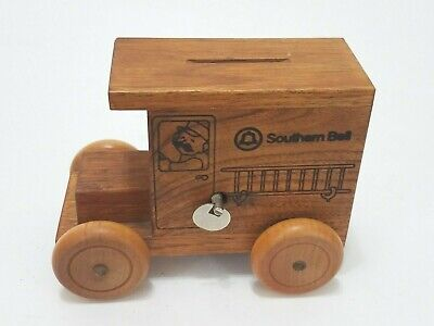 Southern Bell Telephone Vintage 1986 Wooden Truck Van Bank And Music Box
