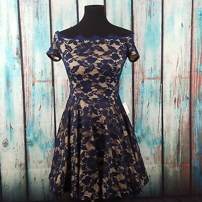 b76d3936869 NWT B. DARLIN Junior s Fit   Flare Dress Off The Shoulder Floral Lace Size 5