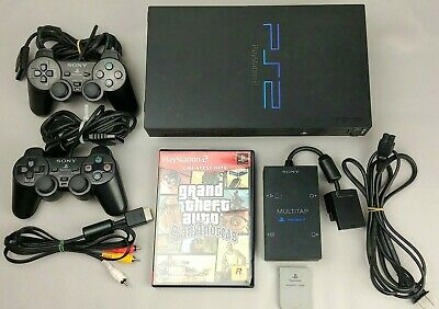 Sony Playstation 2 PS2 Fat Console Multitap Bundle SCPH-50001 2 Controllers Work