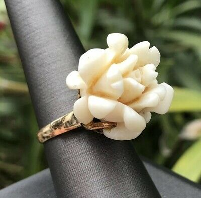 BIG Antique Old Chinese 18k Yellow Gold Carved Angel Skin Coral Rose Flower Ring