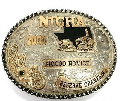Sterling Silver And Gold Overlay Hand Engraved Gem Set NTCHA Rodeo Belt Buckle.