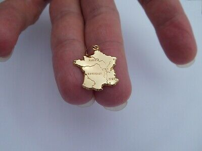 Rare Vintage Retro Mid 1900s French 18K Gold Paris France Map Charm Pendant !