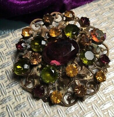 Antique Art Deco 20s Bohemian Czech Crystal Rolled Gold large Flower Brooch