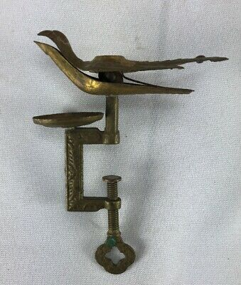 Antique Victorian Embossed Brass Sewing Bird Clamp