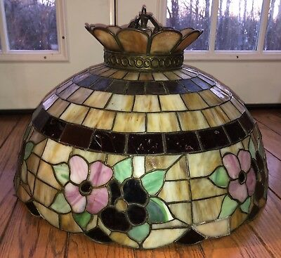 Antique Stained Glass Floral Dome