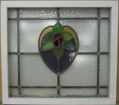 "OLD ENGLISH LEADED STAINED GLASS WINDOW Pretty Floral Heart Design 21"" x 19"""
