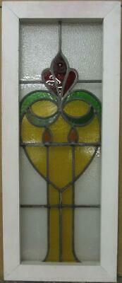 "MIDSIZE OLD ENGLISH LEADED STAINED GLASS WINDOW Pretty Abstract 12.75"" x 30.75"""