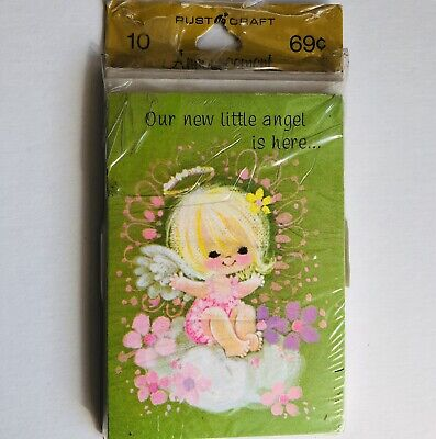Vintage Baby Girl Birth Announcements Angel unused 10 Cards with Envelopes USA