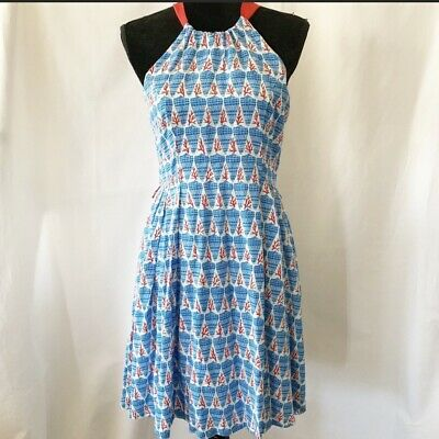 92db8c114a Eva Franco Coral Seashell Zip Sleeveless Knee Length Dress Size 6