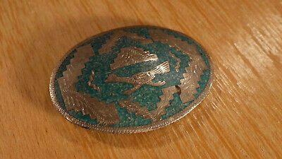 Vintage Mexico Alpaca Turquoise Road Runner Aztec Western Belt Buckle Free Ship