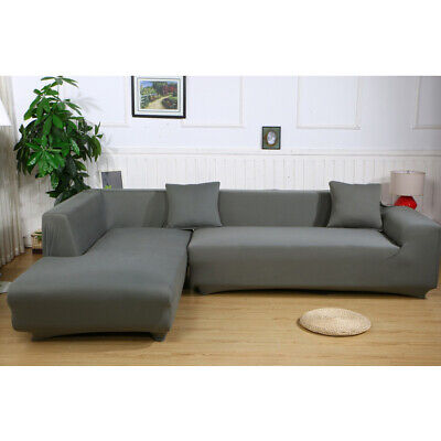 Solid Color Sofa Slipcover L-Shaped Sectional Couch Cover Furniture Protector