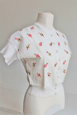 The White House Cardigan Cotton Knit Embroidered Flowers True Vintage UK 10