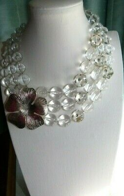 Jewellery Lovely 3 Strand Necklace, Clear Ball Beads, Floral Trim 881