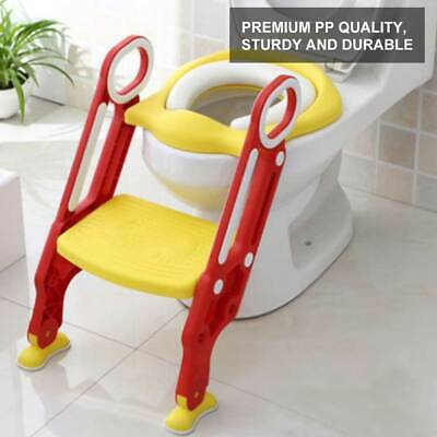 New Kids Baby Child Red Toddler Potty Loo Training Toilet Seat & Step Ladder Uk
