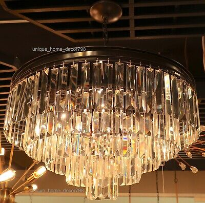 Restoration Hardware Replica ODEON Clear Glass Fringe Chandelier Crystal Bronze