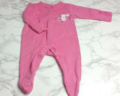 GEORGE BABY GIRLS SLEEPSUIT Age 0-3 Months Pink Bunny Rabbit