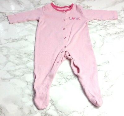 GEORGE BABY GIRLS SLEEPSUIT Age 0-3 Months Pink Love Plain