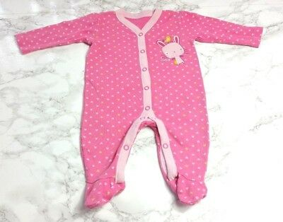GEORGE BABY GIRLS SLEEPSUIT Age 0-3 Months Pink Bunny Rabbit Hearts