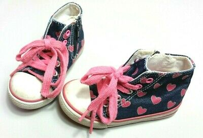 MOTHERCARE GIRLS Shoes Size 6 TRAINERS Sneakers Blue Hearts Hi-Tops