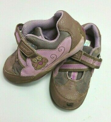 CLARKS Baby GIRLS FIRST Shoes Size 5.5 5 1/2 TRAINERS Brown Purple Owl Width F