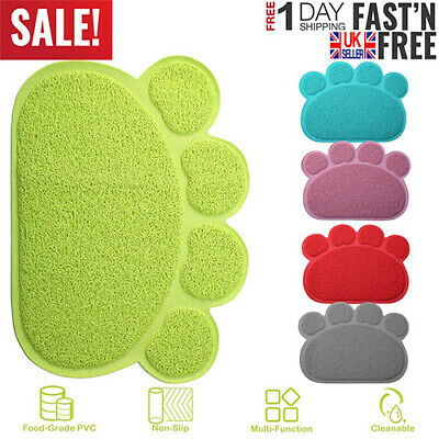 Dog Pet Feeding Water Food Dish Tray Wipe Clean Paw Floor Placemat Cat Paw Mat