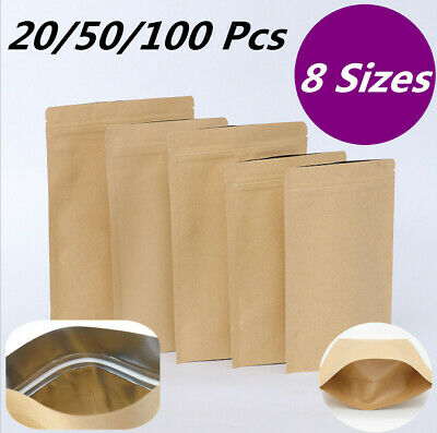 Resealable 25P Kraft Paper Bag Pouch Stand Up Coffee Food Packaging /&Window
