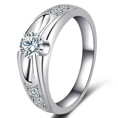 Ladies Ring Wedding Engagement Rings Silver Plated Zirconia Crystal Jewelry 6A