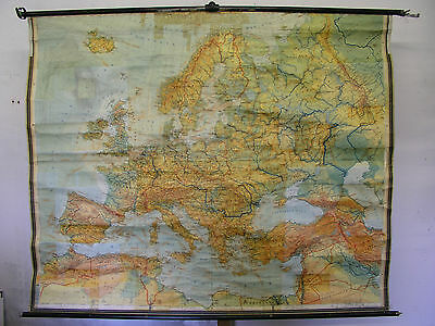 Schulwandkarte Beautiful Old Wall Map Europa Europakarte 1958 195x160c School