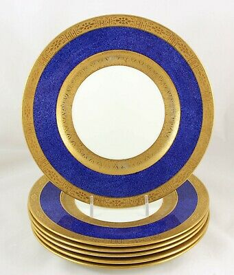 TIFFANY & Co SET 6 PLATES CAULDON CHINA V3333 COBALT BLUE RAISED GOLD ENCRUSTED