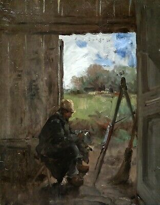 19th CENTURY FRENCH IMPRESSIONIST OIL ON PANEL - ARTIST IN OUTDOOR STUDIO