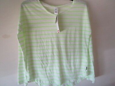 Ladies long sleeve Bonds lime fluro and white stripe sleep tee  Size 12