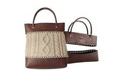 Knitter's Pride Faux Leather Sew On Bag Kit- Brown- New! Handles & Bottom Purse
