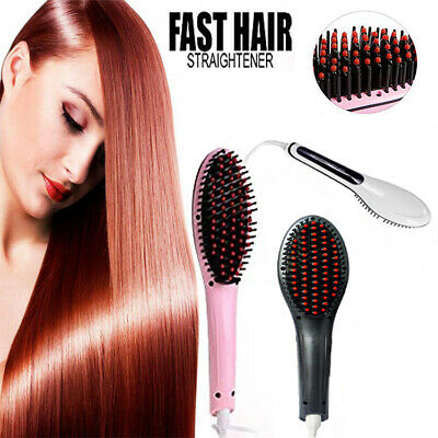 Fast Hair Straighteners Brush Flat Hot Auto Electric Comb Massager Iron Heated