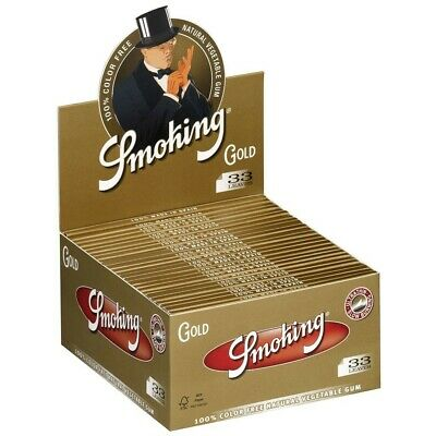 Cartine KING SIZE ORO SMOKING GOLD SLIM LUNGHE 1 Box 50 Libretti 1650 Fogli