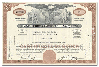 Pan American World Airways, Inc. Stock Certificate