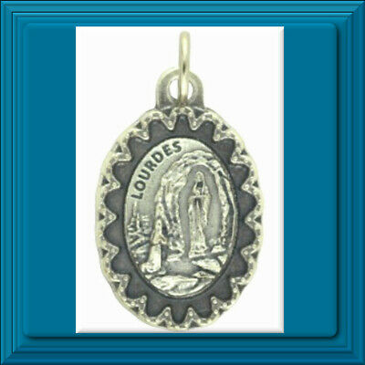 "Scalloped Edge Series Our Lady of Lourdes Medal 1"" Catholic 🕊 Made in ITALY ✝️"
