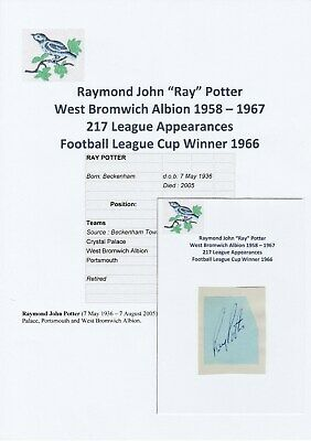 Ray Potter West Bromwich Albion Rare Original Football Autograph Cutting