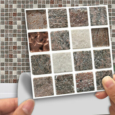 Stone Texture Mosaic Peel Stick Wall Tile DIY Home Bathroom Wall Decal Sticker