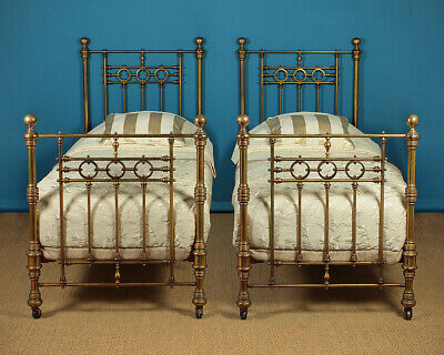 Antique Pair of Brass Single Beds c.1880.