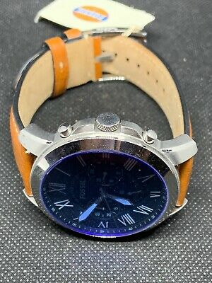 c8d908680 Fossil FS5210 Men's Watch Chronograph Navy Blue Dial Leather Band Brown B217
