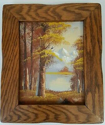 Vintage Framed Autumn Mountains Oil Painting Robert More Moore NICE OAK FRAME