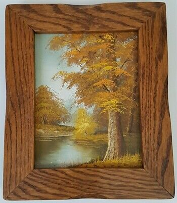 Vintage Framed Autumn Trees Pond Oil Painting Robert Moore HANDSOME FRAME