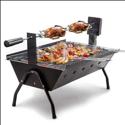 Portable Electric Rotisserie Charcoal Low-Stand BBQ Grill Steel 240V Rotisserie