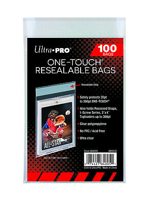 1 Pack of 100 Ultra Pro One Touch Resealable Poly Bags Sleeves for Card Storage