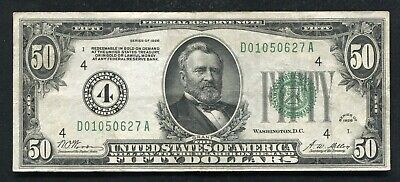 """Fr 2100-D 1928 $50 Frn """"Numerical Gold On Demand"""" Cleveland, Oh Extremely Fine"""