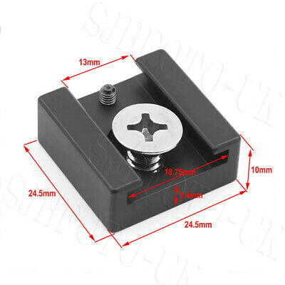"""Cold Shoe Mount Adapter Bracket with 1/4"""" Mounting Screw for Camera Cage Plate"""