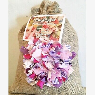 Rag Rug Kit Including Ready Cut Rags, Hobby, Craft Gift, Vintage, Eco, Recycle